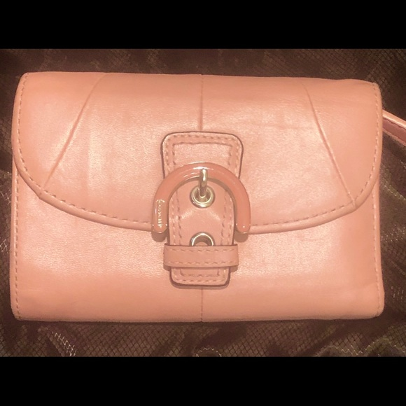 "Coach Handbags - Tri-fold pink coach leather wallet 5""x4""x11"""